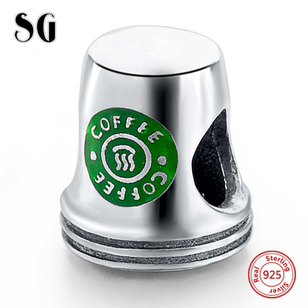Fit Authentic Pandora Charms Bracelet Silver 925 Original Green Coffee Cup Beads For Women Berloque Sterling Silver jewelry diy