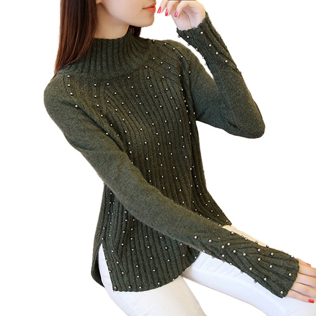 Autumn Winter Beading Sweater Women Fashion cashmere long sleeve Turtleneck christmas sweaters pullovers knitted pull femme