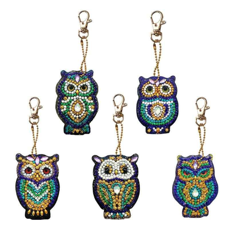 4/5pcs DIY Full Drill Special Diamond Painting Keychain Cartoon Owl Cake Women Bag Pendant Keychains Jewelry Key Ring Gifts