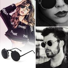 Steampunk Sunglasses Round Designer Women Men Retro