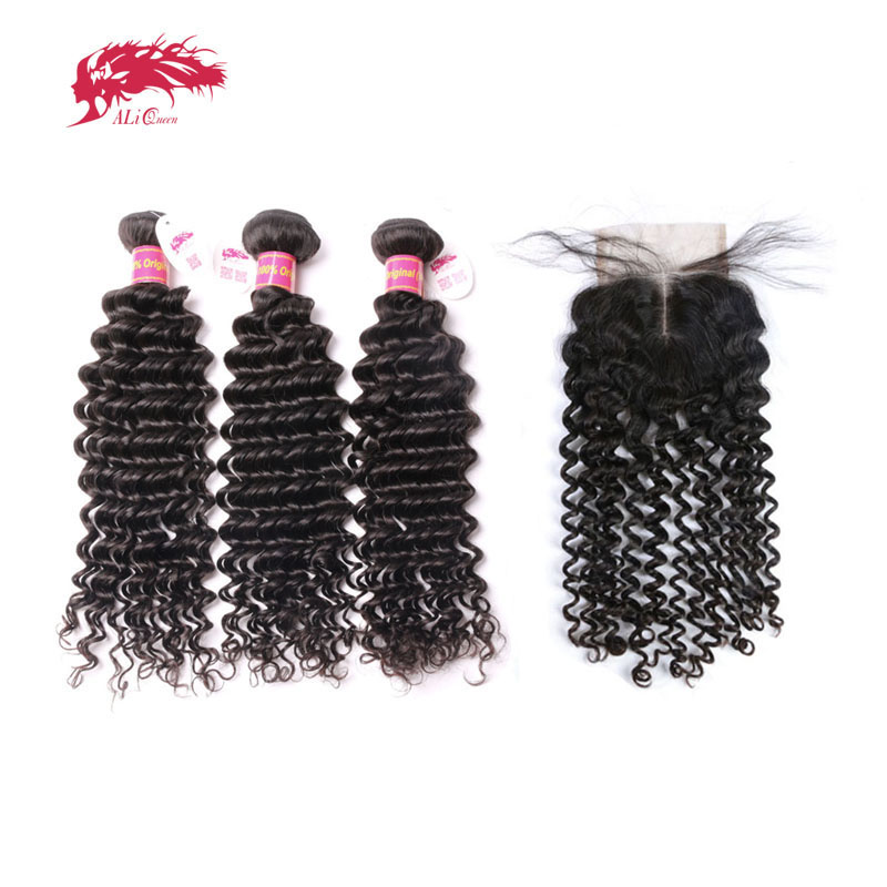 3Pcs Brazilian Deep Wave Human Hair Bundles With Lace Closure Middle Part / Free Part Ali Queen Hair Products Virgin Hair