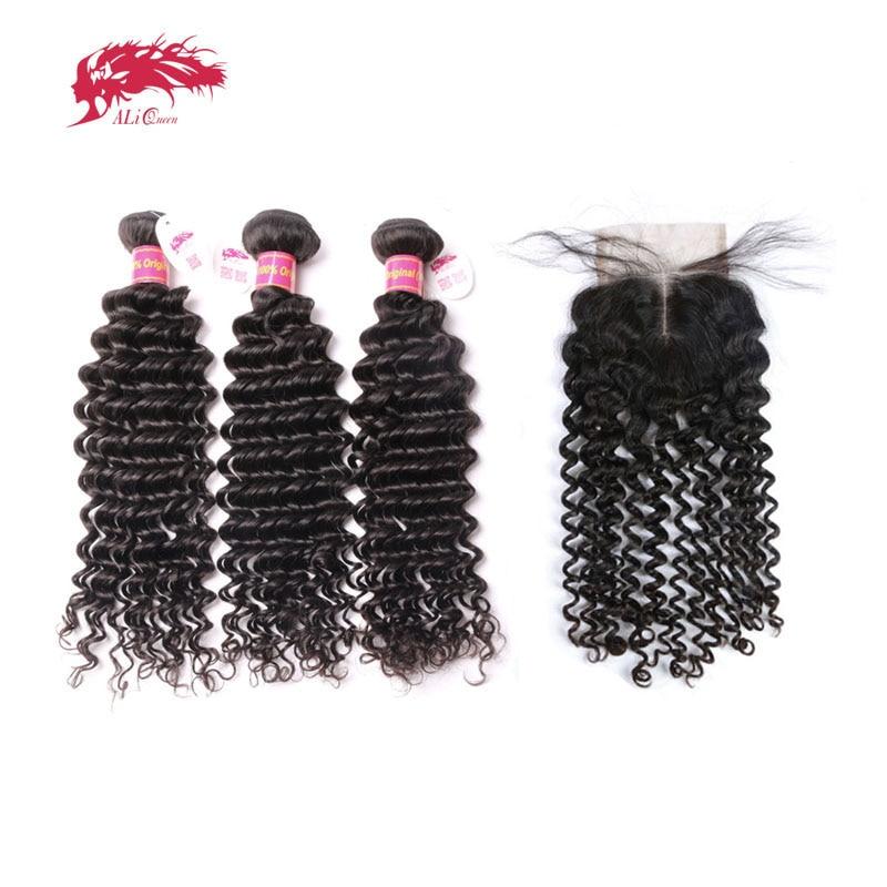3Pcs Brazilian Deep Wave Human Hair Bundles With Lace Closure Middle Part / Free Part Ali Queen Hair Products Virgin Hair
