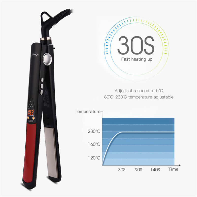 LCD Display Professional Heating Hair Straightener Tourmaline Ceramic Flat Iron Smooth Plate Negative ions Salon Hairdressing
