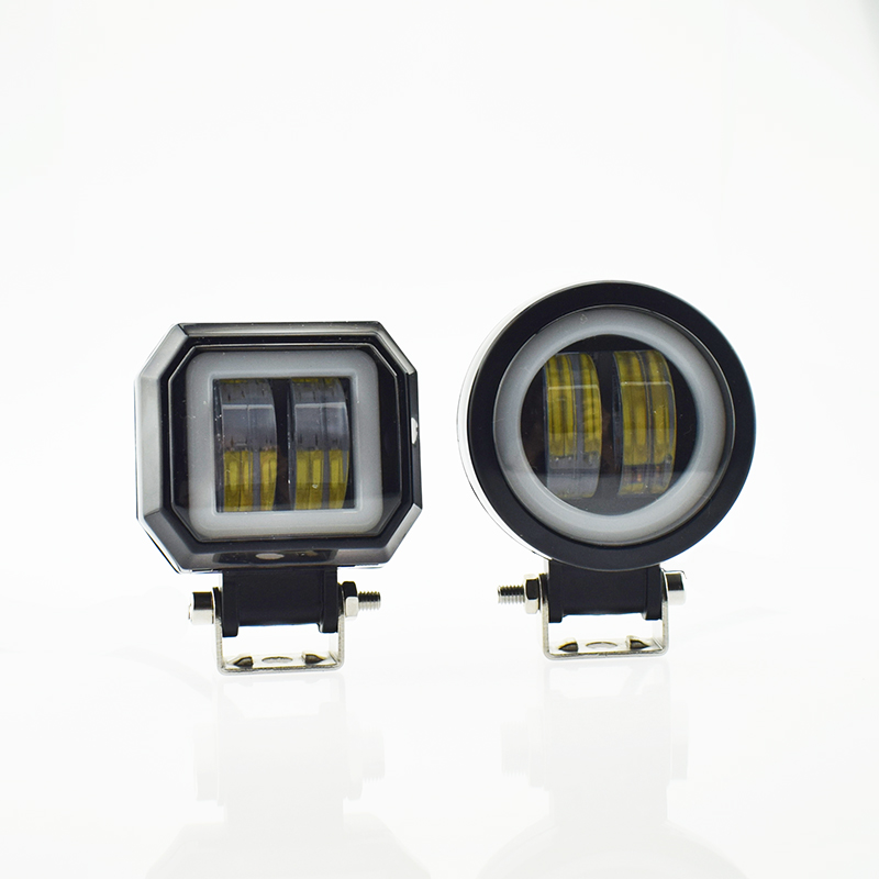 cheapest Motorcycle headlights 12v 20w motorbike Work Light LED Moto spotlights Angel Eyes Light fog Spot lamp car accessories headlamp