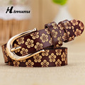 HIMUNU 2015 Fashion Women's Genuine leather Belt Printing flower Vintage Pin Buckle Women Belts For Girl cintos femininos