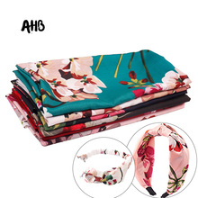 AHB Polyester Fabric Flower Printed Cloth Thin Gorgeous DIY Dress Clothes Vintage Soft Home Textile Curtain Materials