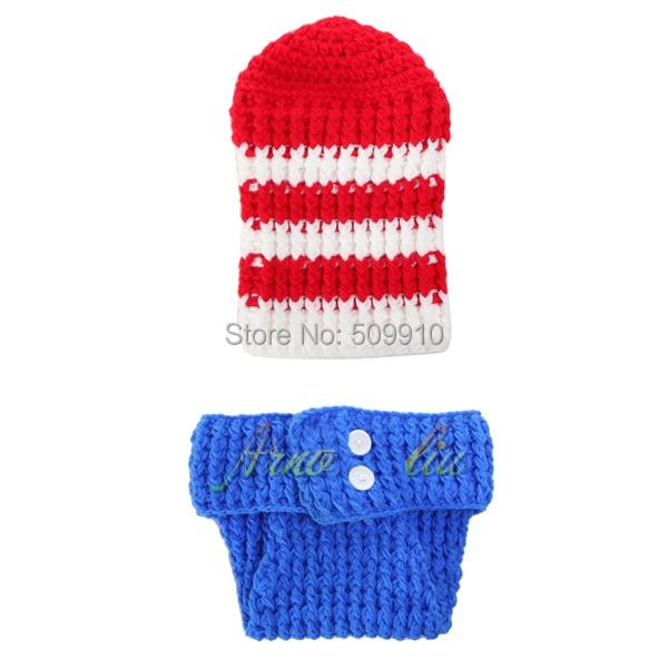 Baby accessories Handmade Crochet Newborn Infant Baby American Flag hat and  shorts set Handmade Newborn photography 74c1f6c3c6eb