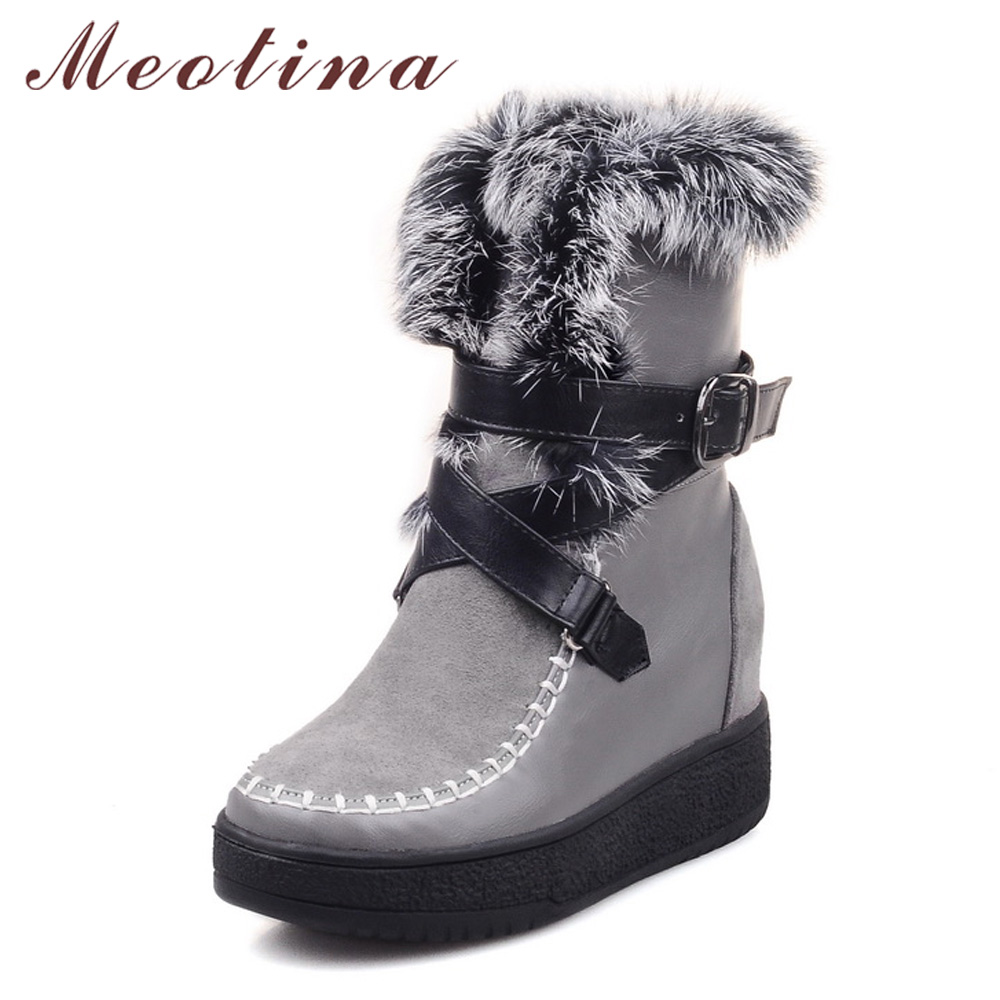 Meotina Women Snow Boots Platform Wedge Heels Mid Calf Boots Fur Hidden Heel Black Boots Buckle Ladies Autumn Shoes Size 33-40 zippers double buckle platform mid calf boots