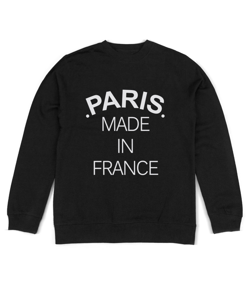 Sweatshirt Homme - Paris Made In France - Phrase Logo - Noir Gris Clair New Metal Short Sleeve Casual Shirt