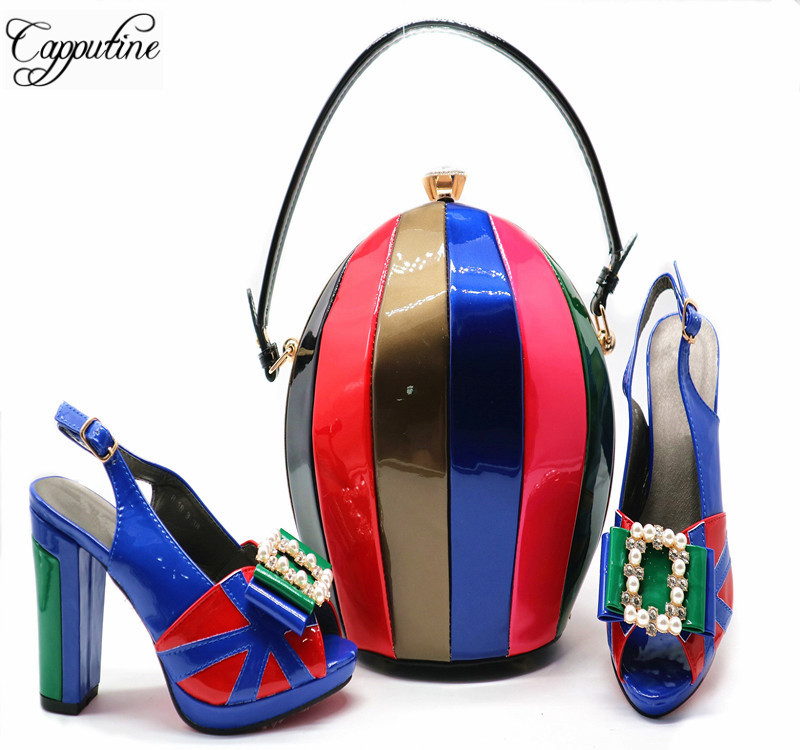 European Design Spike Heel Shoes And Matching Clutch Bag Set Fashion PU Pumps Shoes And Bag Set For Wedding Summer Shoes G55 cd158 1 free shipping hot sale fashion design shoes and matching bag with glitter item in black