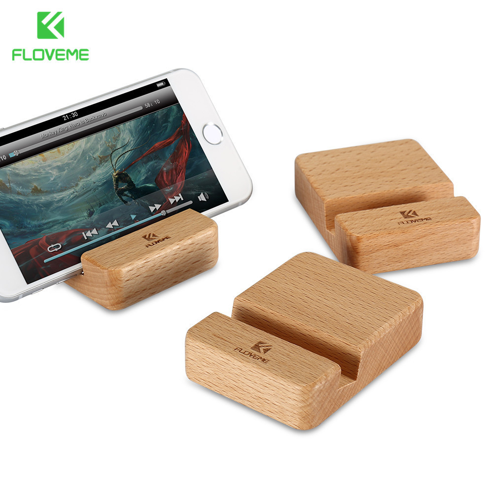 FLOVEME Beech Wood Phone Stand Holder For iPhone 6 6s 7 Plus Mobiltelefon Stand Universal Trä Stand Holder För iPhone 6s