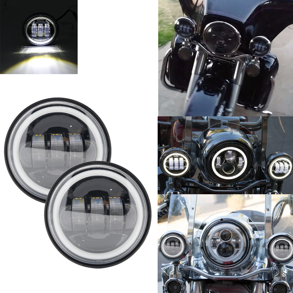 Motorcycle Daymaler 4.5inch LED Passing Light for Harley Davidson Fog Lamps Auxiliary Light bulb Projector Spot Driving Lamp