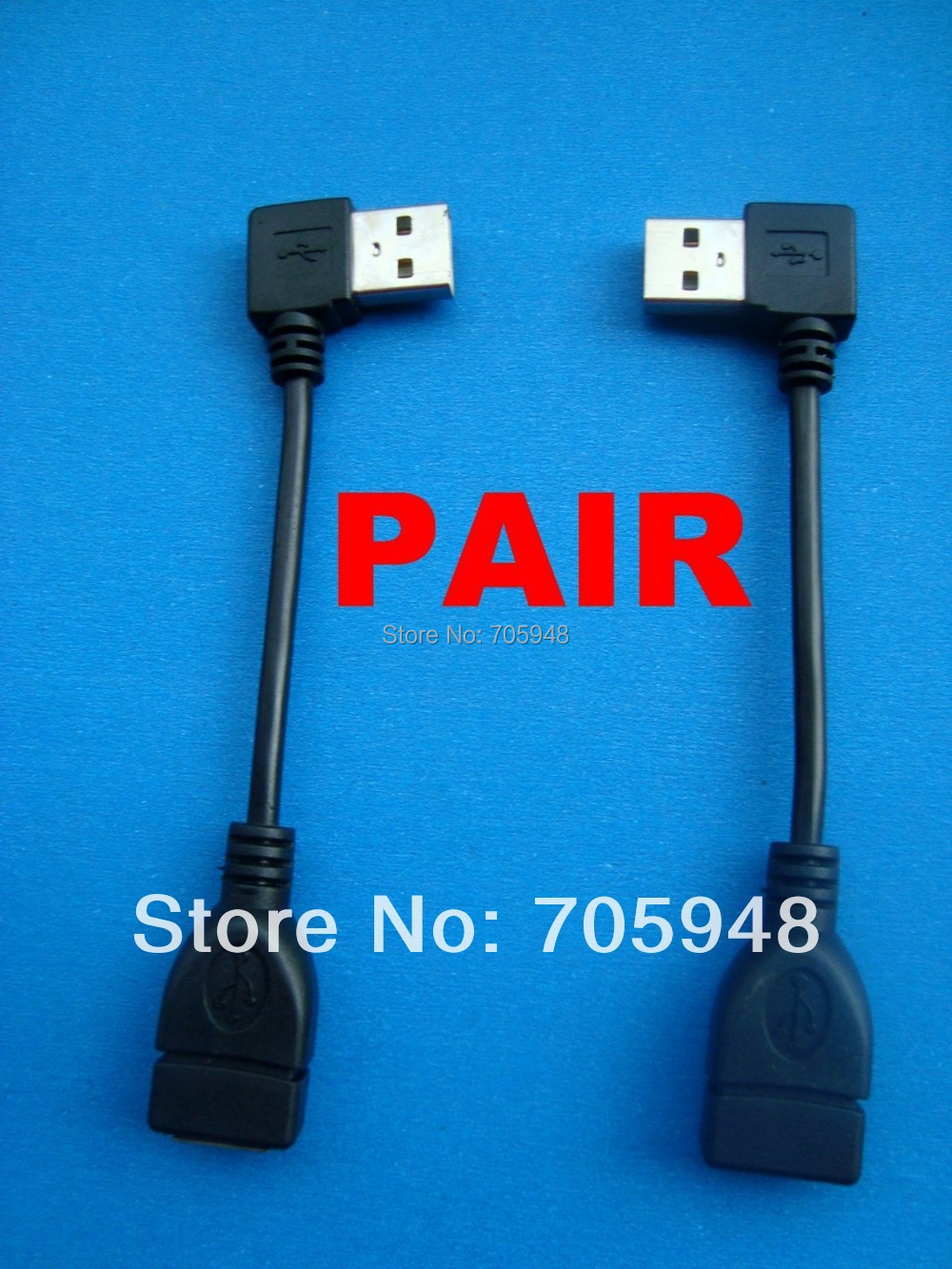 1 x pair right + left angled 90degree USB 2.0 A Male to Female adapter extension cable