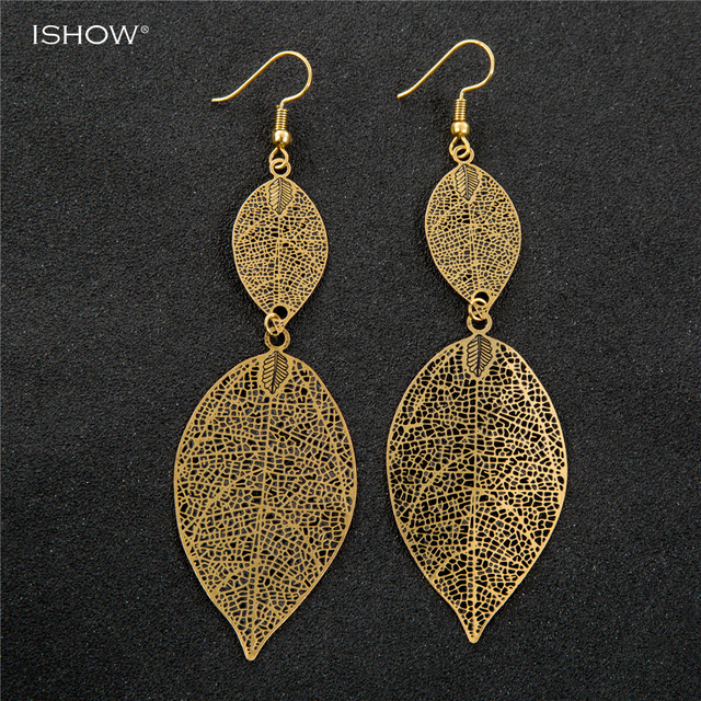 Penntes Ethnic Vintage Gold Earrings Jewelry Summer Hollow Flower Drop Earring Accessories For Women Long