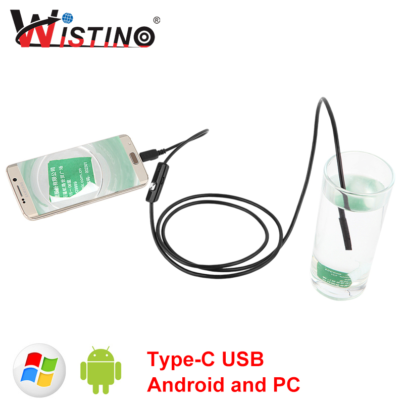 Wistino Android Endoscope Mini Camera Type-c USB Hard Cable 8mm len Waterproof Car Inspection Surveillance 5m Snake Industrial usb3 0 round type panel mounting usb connecter silver surface