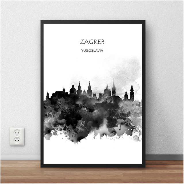 White black abstract watercolor city building zagreb croatia print poster living room wall sticker home decor