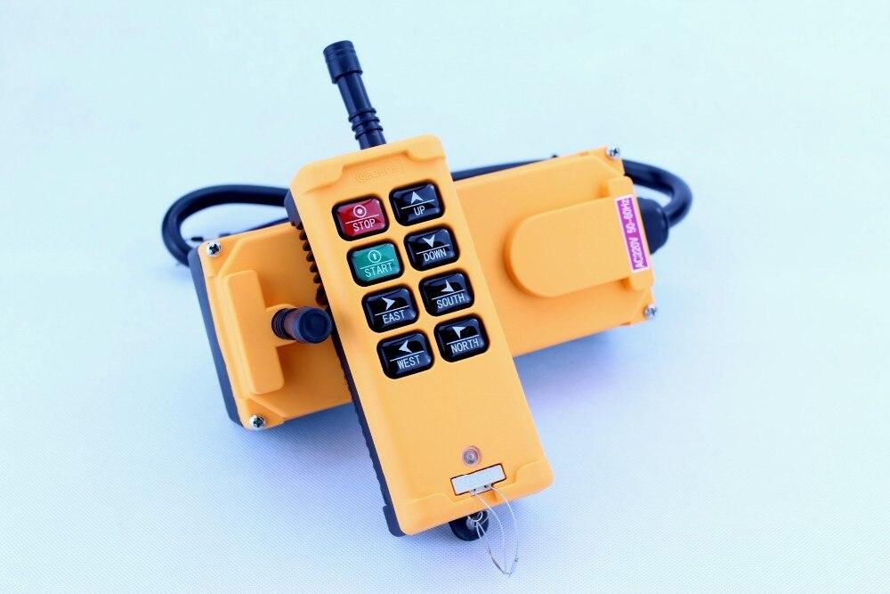 HS-8 8 keys industrial remote controller 1 transmitter + 1 receiver Crane Transmitter AC 380V 380VAC hs 10s crane industrial remote control switch hs 10s wireless transmitter switch