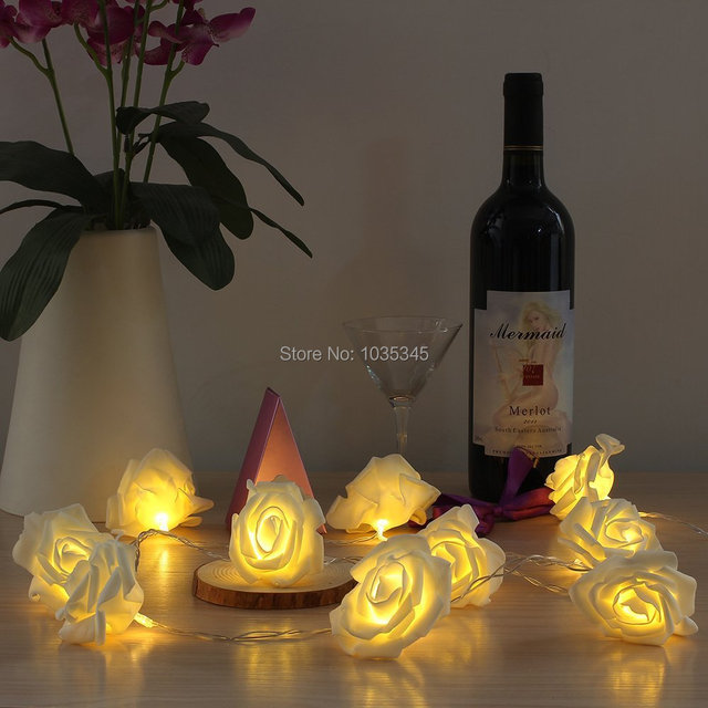 10led battery starry lights rose flower fairy string lights valentine string lights wedding garden patio christmas - Valentine String Lights