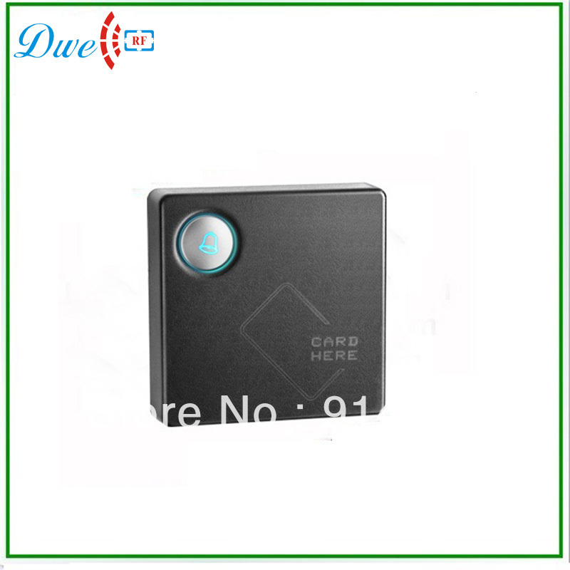 High quality 125khz EM-ID wiegand 26 card access control rfid smart card reader with backlight door bell button outdoor mf 13 56mhz weigand 26 door access control rfid card reader with two led lights