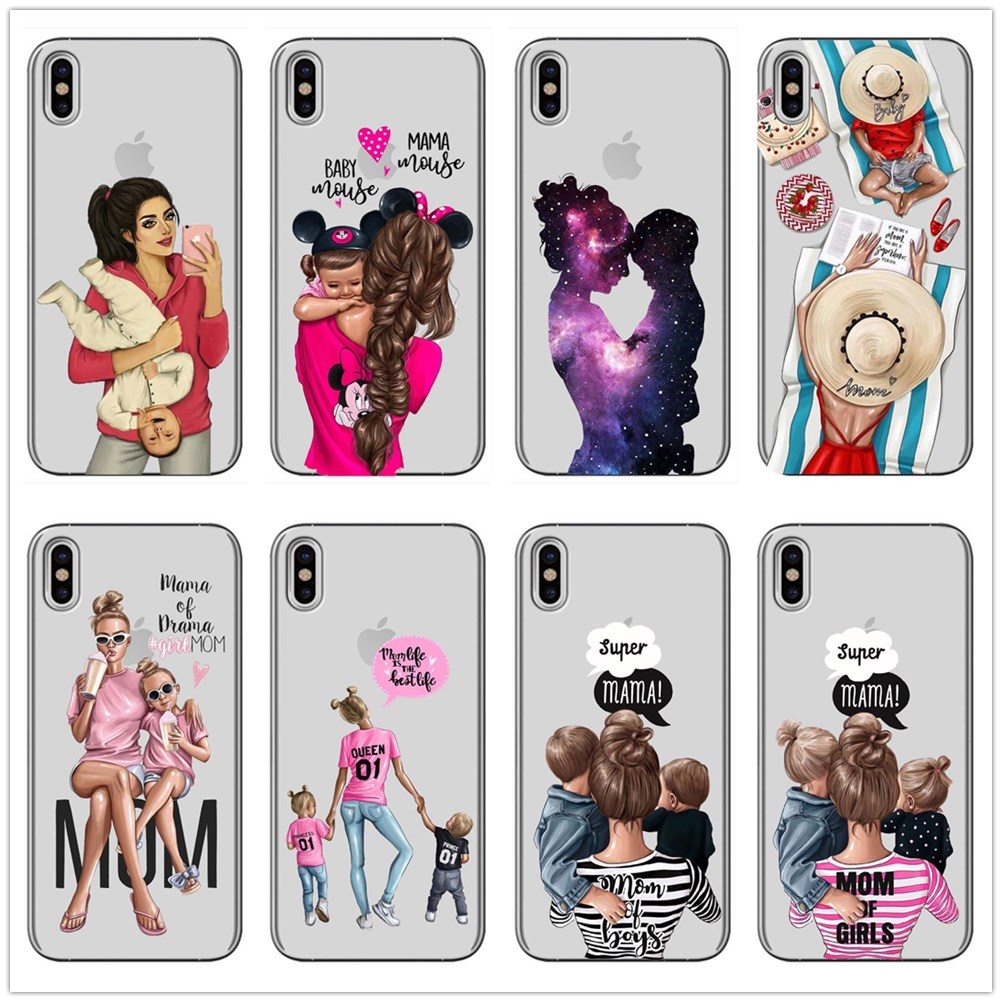 Fashion Black Brown Hair Baby Mom Girl Case For iPhone X MAX XR 8 7 6 6s Plus 5 5s SE Silicone Transparent Woman Phone Cover