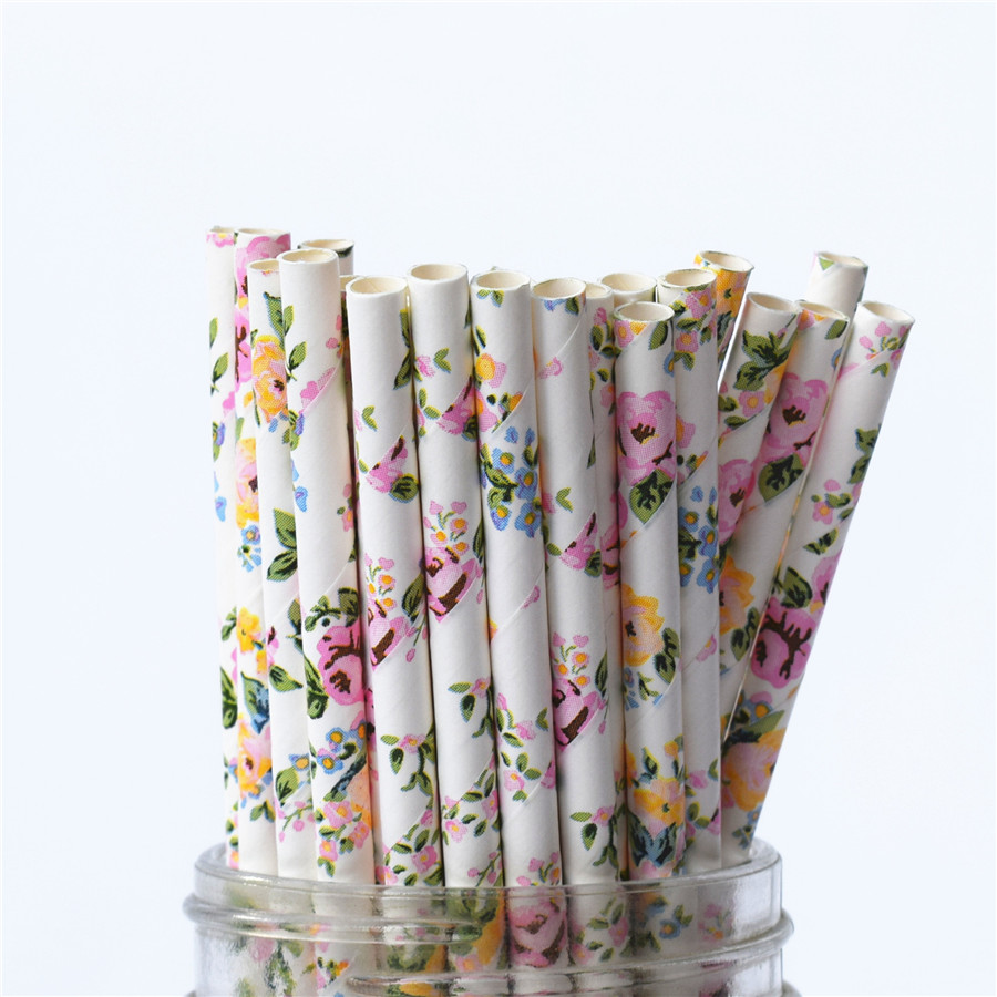 25pcs Romantic Paper Straws Biodegradable  Vintage Retro Floral Drinking Paper Straws For Christmas Decoration Wedding Events