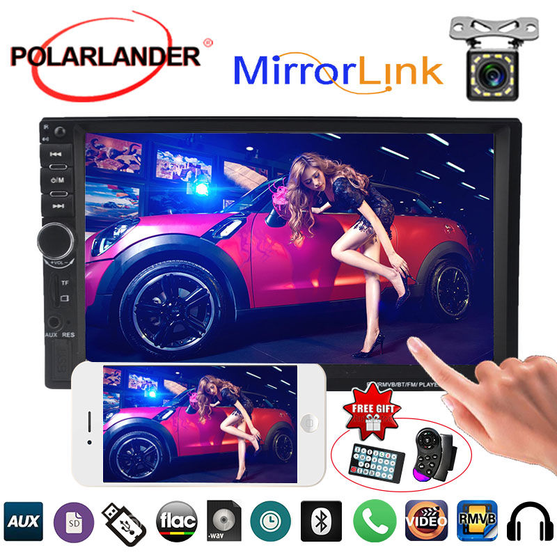 2 Din Mirror For Android Phone Car Radio Mirror Link Screen Mirror Link Rear Camera MP5 Player 7 Inch Touch Screen Bluetooth