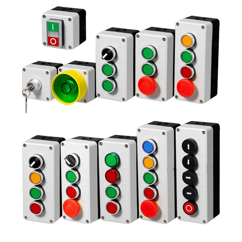 все цены на Button switch control box plastic hand-held self starting button waterproof box electrical industrial emergency stop switch i