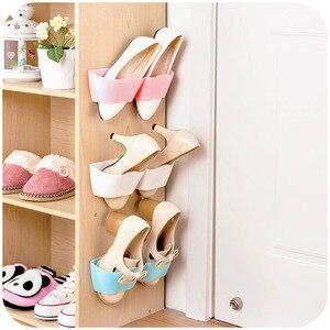 1pc Plastic Shoes Shelf Rack Wall-Mounted Sticky Hanging Shoe Holder Organiser Slippers Storage Rack for Living Room