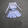 2016 Осень новый стиль Корейской версии свитер костюм женские юбки случайные небольшие поля дышать сладкий отдых вязаный свитер костюм