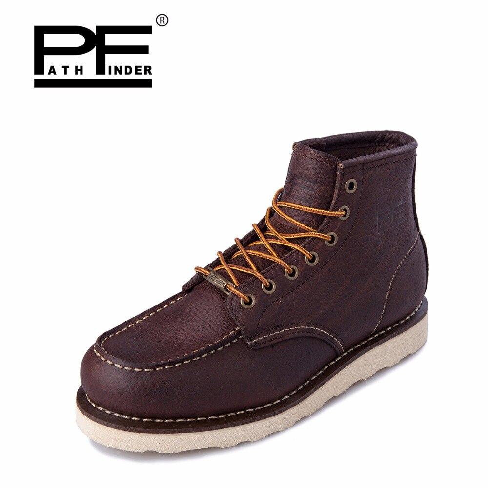 Imperméables Neige Outillage Chaussures Bota Noir Mode Bois rouge Cuir Hiver Western marron VéritableHomme Pathfinder De 2019 Pour Bottines OuTPkZXi