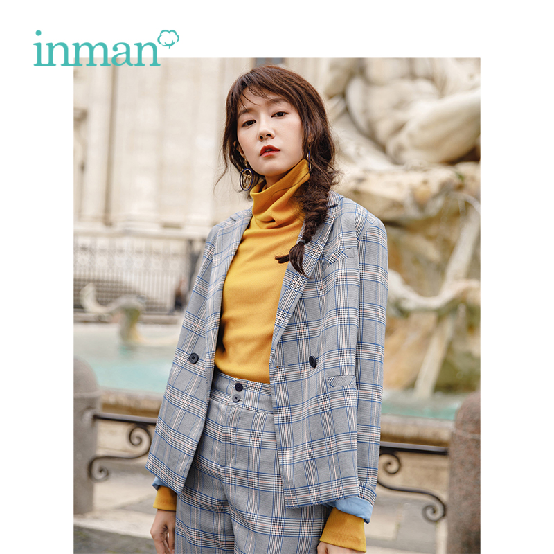 INMAN Autumn New Arrival Neutral Yarn Dyed Plaid Short Women Frock Suit Coat