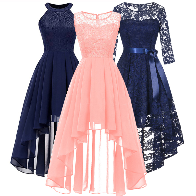Bridesmaid Dresses Clothing Prom-Gown Front-Short Wedding Long-Back Dark-Blue HALTER-BOW title=