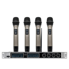 Professional Wireless Microphone UHF Quad Channel Handheld Lapel Headphones Headset Conference X-4700