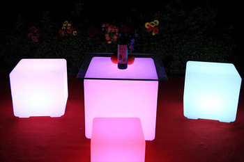 15%,LED Cube Rechargeable Cordless Decorative Light Luminous Stool with 7 Colors Remote Control 35 x 35 x 35cm