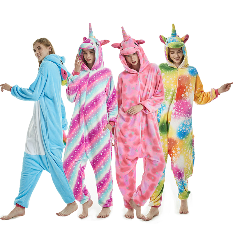 2019 Pink Unicorn   Pajamas     Sets   Winter Cartoon Sleepwear Stitch unicornio   Pajamas   Women Men Unisex Adult Flannel Nightie Kigurumi