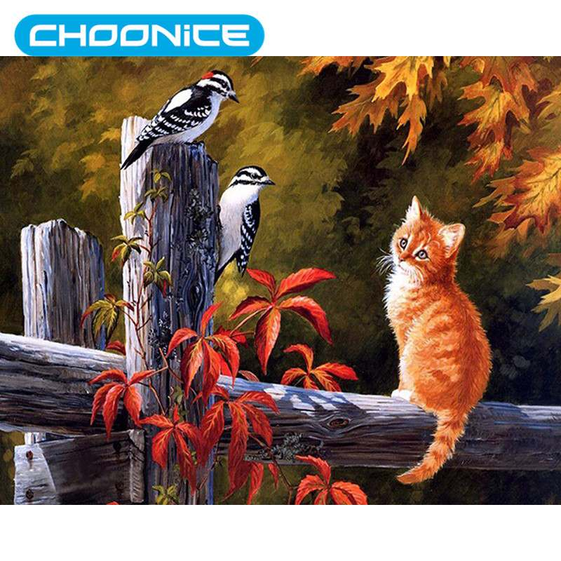 Cat Diamond Painting Cat And Bird Wooden Railing DIY 3D Diamond Embroidery Small Animals Cross Stitch Pokemon Paintings Mosaic