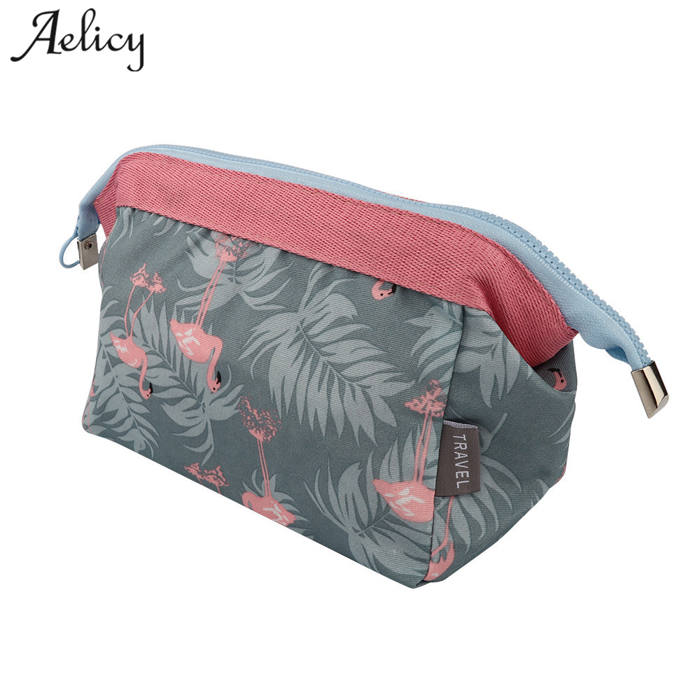 Aelicy Canvas Travel Floral Printed Women Makeup Bags Portable Travel Make Up Pouch High Quality Female Zipper Cosmetics Bag L new arrival female zipper cosmetics bag large cosmetic bag women make up bags portable travel make up pouch