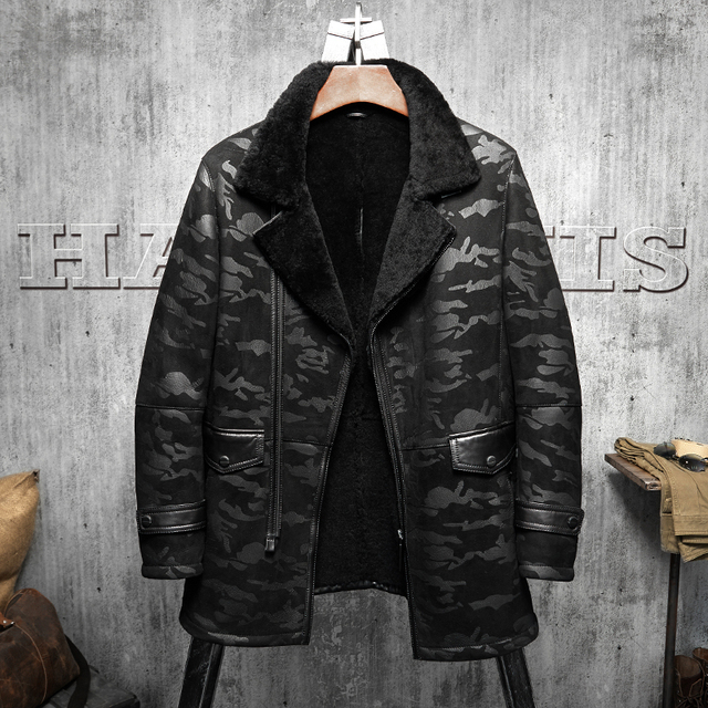 836fa33251d B3 Jacket Men s Shearling Leather Jacket Black Camouflage Original Flying  Jacket Men s Fur Coat Long Pilots Coat
