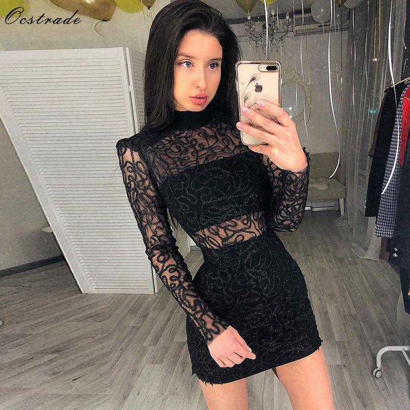 2405829d5b148 Ucuz Ocstrade Yaz Rayon Kadınlar Bandaj Elbise 2019 Seksi Tek Parça Parti  Bodycon Dantel Bodycon Elbise