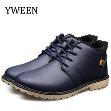 YWEEN Mens Boots Autumn Winter Lace-Up Ankle Style Plush Warm Man Snow Classic Cotton Padded Shoes 2018 Hot Sales