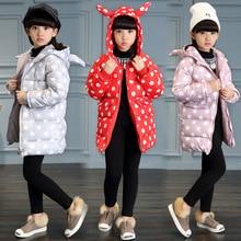 2016 Зимой ребенка девушки с длинными типа хлопка-ватник детей мода полька dot одежда пальто