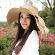 Mujeres verano playa sombrero de paja de moda señoras Bowknot diseño  sombreros del sol protector solar sombrero de ala ancha 33f8ab59522