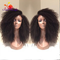 180 Density Afro Kinky Curly Synthetic Lace Front Wig Black Color Thick And Soft Hair Curly Synthetic Wigs For Black Women