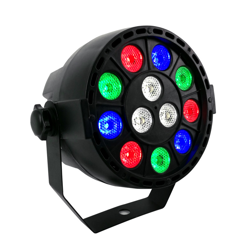 SHEHDS LED Flat Par 12x3W RGBW Lighting Professional LED Stage Lights Effect DMX512 Master-Slave DJ Disco Party
