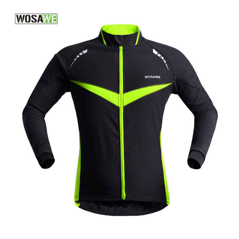 ФОТО WOSAWE Autumn & Winter Cycling Jacket Breathable Windproof Long Sleeve Bike Cycle Wind Coat Reflective Bicycle Clothing
