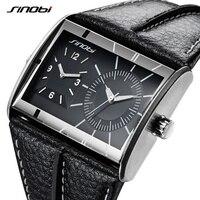 2018 SINOBI бренд несколько раз зоны Для мужчин модные прямоугольник часы Новые творческие Для мужчин кожаные Кварцевые наручные часы relogio