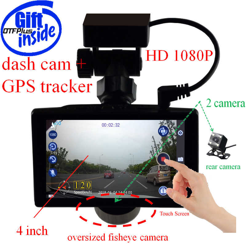 2 in 1 dash cam Car DVR 1080P 4 inch Dual Cameras GPS posioning GPS Tracker G-sensor Night vision touch screen free gift