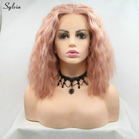 Sylvia Synthetic Wig Short Bob Hair Water Wave Middle Part Lace Front Wigs For White Women Cosplay Holiday Party Drag Queen Wigs