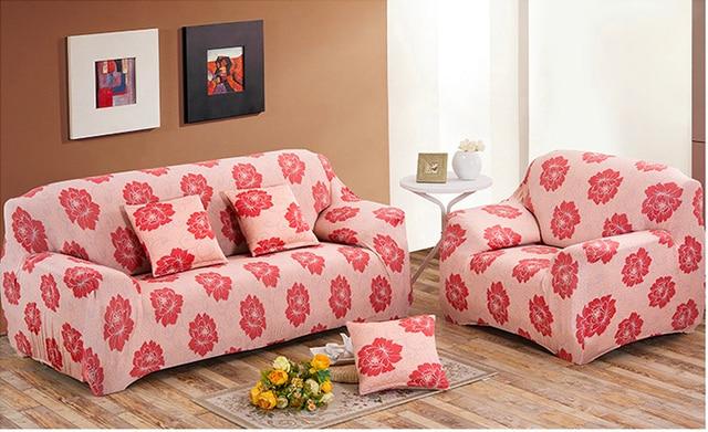 Rosa Sofa winter plus nap spandex stretch rosa chinensis skid proof sofa