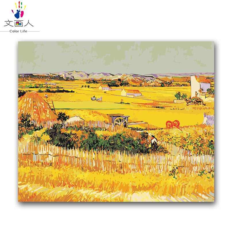 the harvest vencent Van gogh oil painting package diy digital oil painting by the number with kits adult kids practise painting